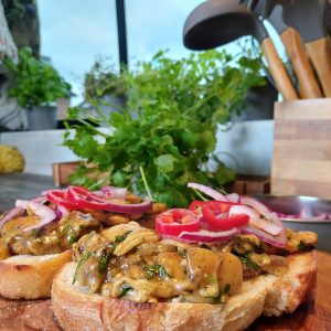 campervan vegan recipe cheesy curried butterbeans on toast