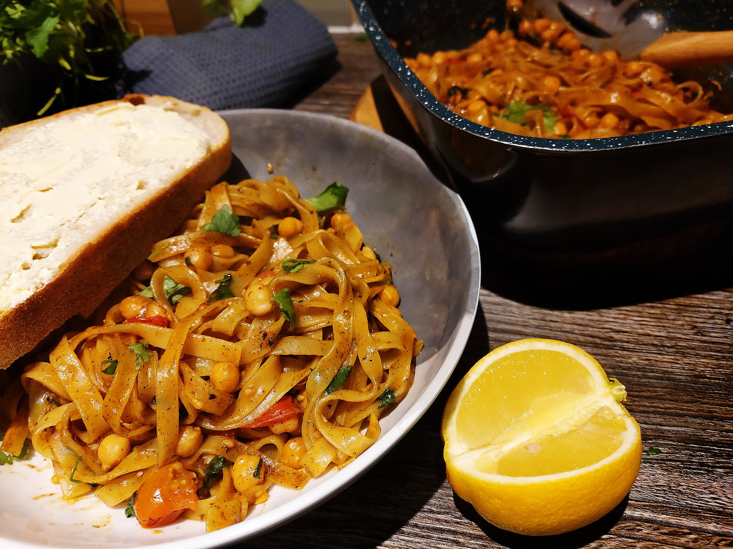 campervan recipe tagliatelle nests with chickpeas tomatoes and cajun oil