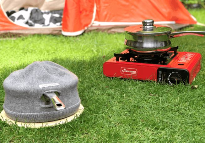 Camping with a cooking cosy