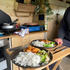 2 plates on a table inside the campervan. They have sticky chicken, rice and pak choy