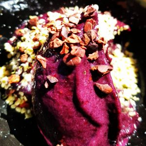 Blackberry & banana Nice cream topped with chopped nuts