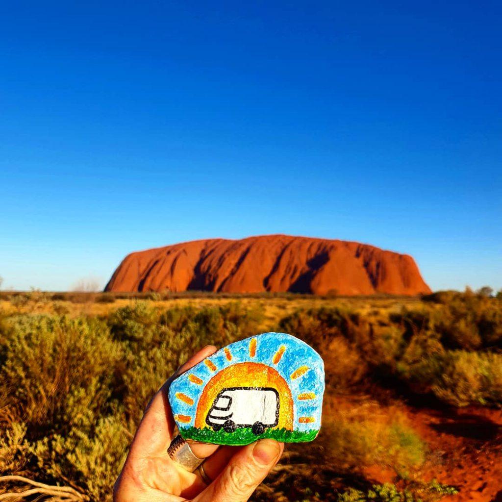 Vinny the van painted onto a rock