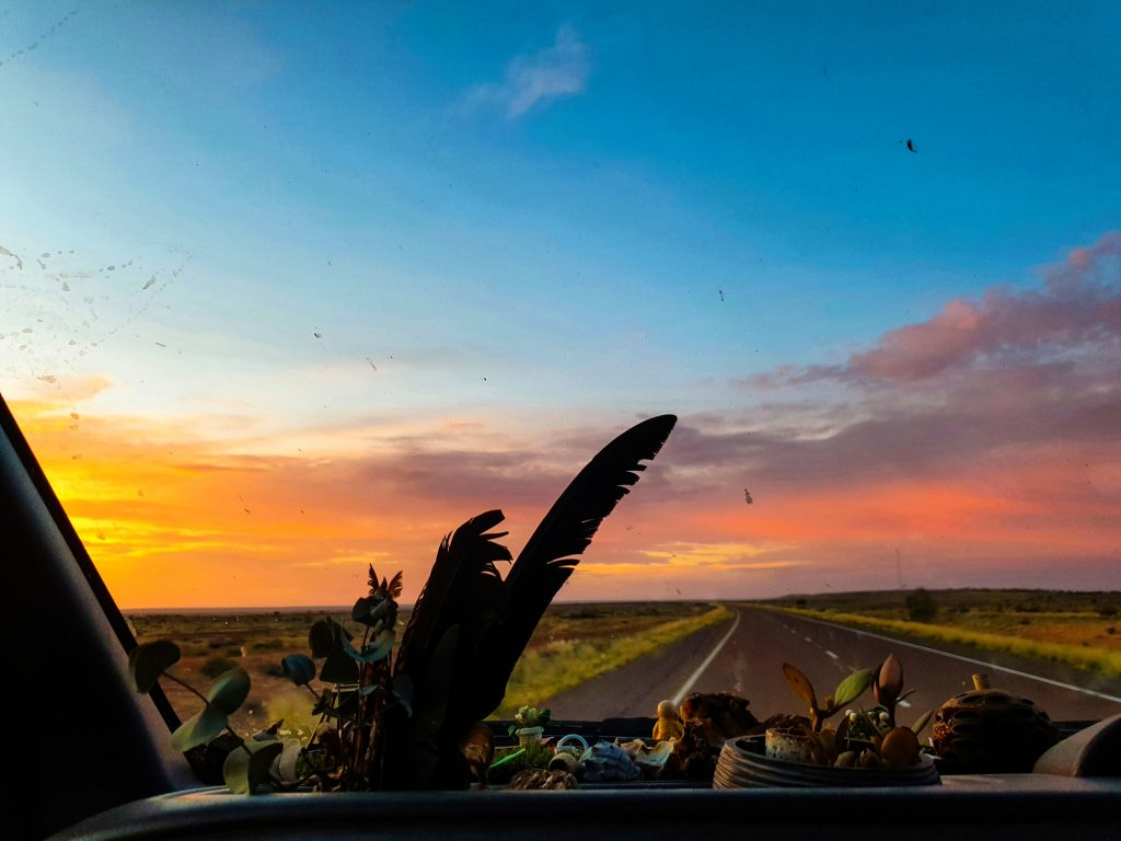 View through the windscreen. Plants and trinkets are on the dash in the foreground, with an empty road a beautiful sunset in the background.