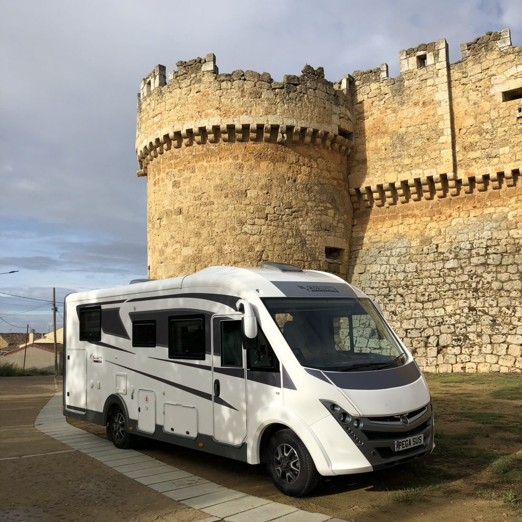 Pegasus the motorhome in front of a castle